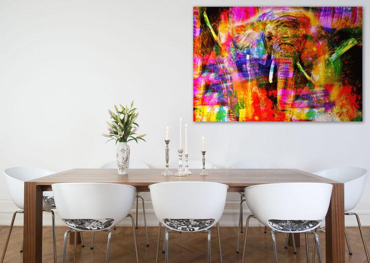 "Aluminium schilderij ""Bas – Colorful elephant"" van Mondiart"