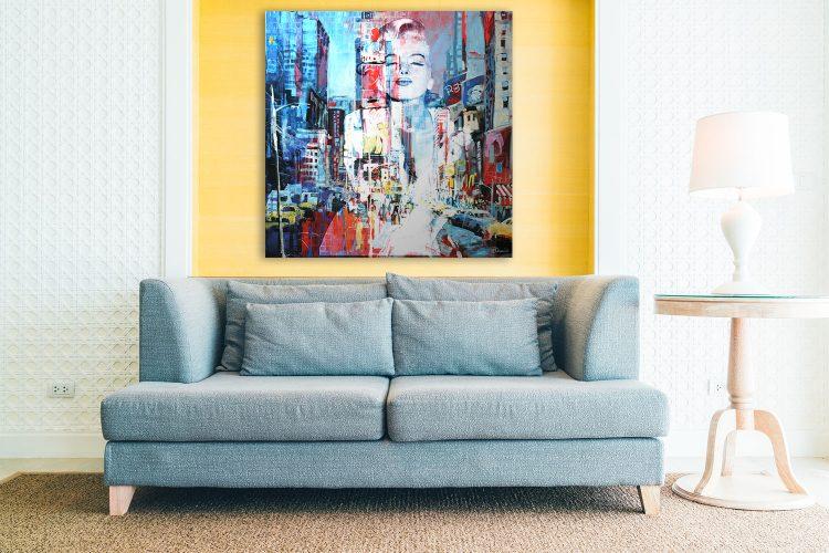 "Aluminium schilderij ""Bas – Monroe New York"" van Mondiart"