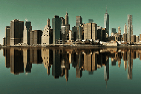 "Aluminium schilderij ""City skyline"" van Mondiart"