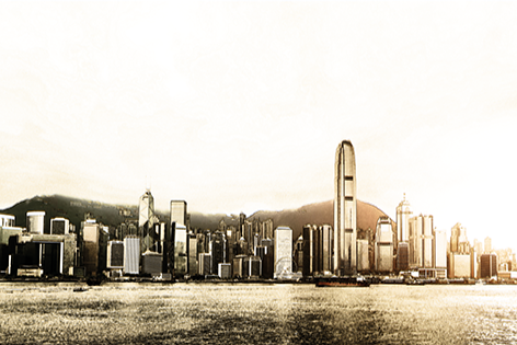 "Aluminium schilderij ""Bas – Skyline of Hong Kong"" van Mondiart"