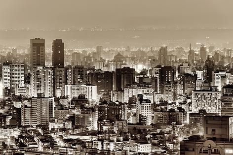"""Aluminium schilderij """"Urban scenery with skyscrapers"""" van Mondiart"""