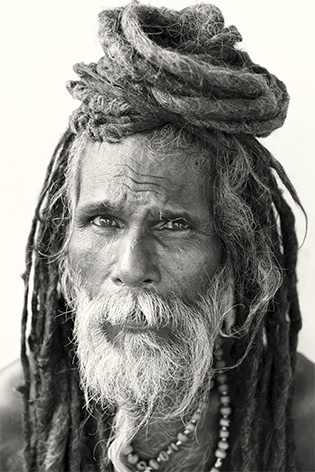 "Aluminium schilderij ""Varanasi Holy man"" van Mondiart"