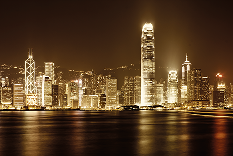 "Aluminium schilderij ""View of Hong Kong at night"" van Mondiart"
