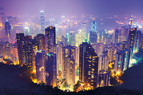 "Aluminium schilderij ""View over Hong Kong city"" van Mondiart"