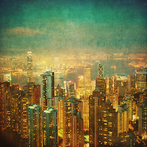 """Aluminium schilderij """"Vintage image of Hong Kong"""" van Mondiart"""