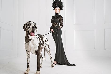 Woman with Danish dog