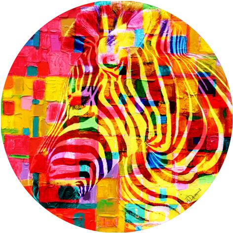 """Aluminium schilderij """"Bas – Colorful zebra"""" van Mondiart"""