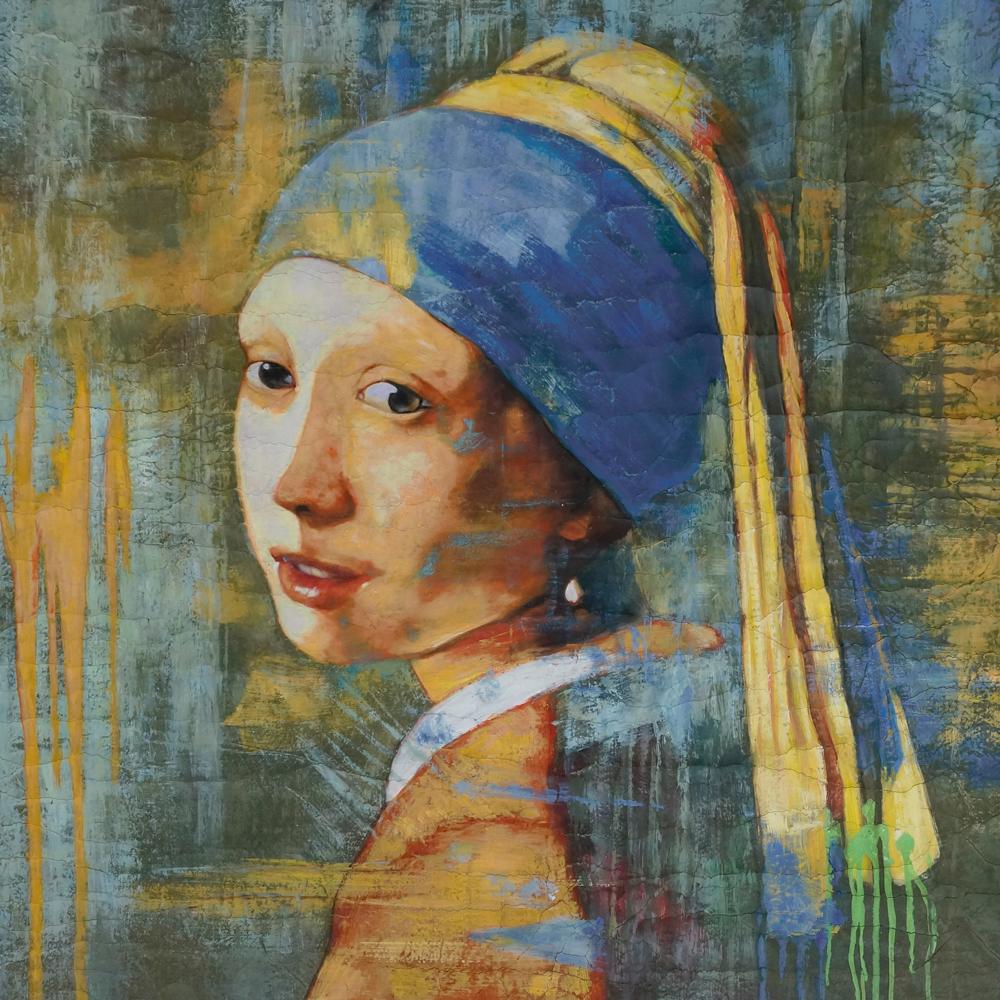 Schilderij meisje met de parel 2 0 canvas te koop for Schilderij op aluminium