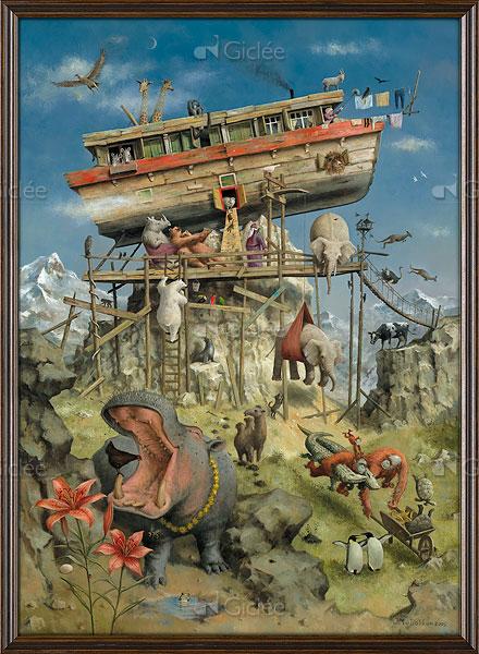 """Giclée/reproductie """"De Ark van Noach"""" met certificaat"""