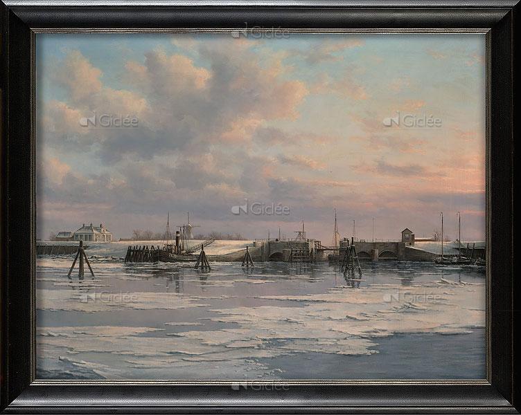 Sluis van Zoutkamp vanaf zee gezien