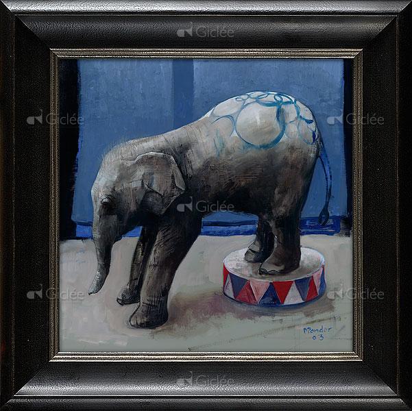 """Giclée/reproductie """"Jonge olifant"""" met certificaat"""