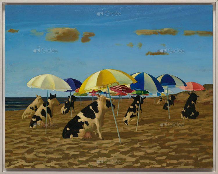 """Giclée/reproductie """"Koeien op het strand"""" met certificaat"""