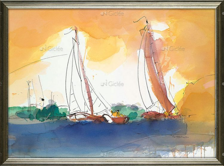 """Giclée/reproductie """"Sailing in the sunset"""" met certificaat"""