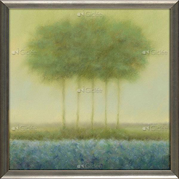 """Giclée/reproductie """"Blauw landschap met 5 bomen"""" met certificaat"""