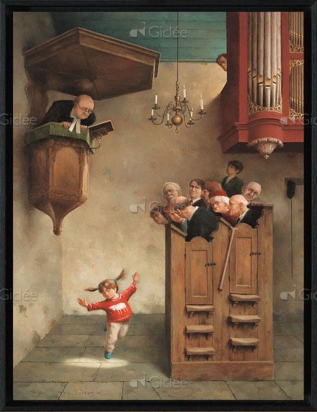 """Giclée/reproductie """"Dansje in de kerk"""" met certificaat"""