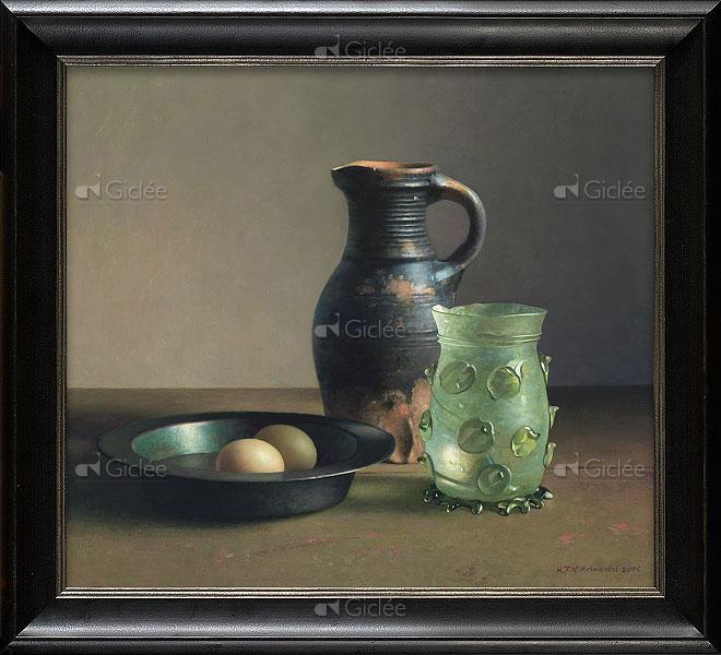 """Giclée/reproductie """"Stilleven met 15e eeuws drinkglas"""" met certificaat"""