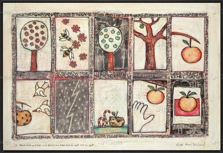 "Giclée/reproductie ""About birds and bees and flowers and trees and an apple"" met certificaat"