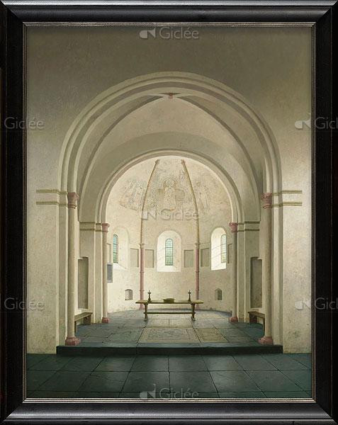 """Giclée/reproductie """"De absis van de Romaanse kerk in Bozum"""" met certificaat"""