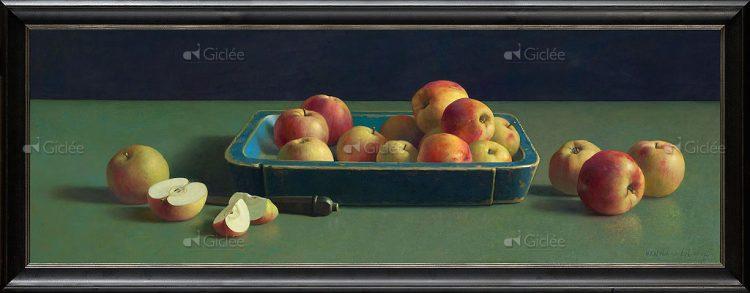 """Giclée/reproductie """"Blauwe bak met appels"""" met certificaat"""