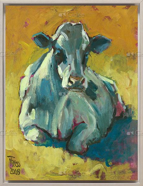 """Giclée/reproductie """"Liggende koe"""" met certificaat"""