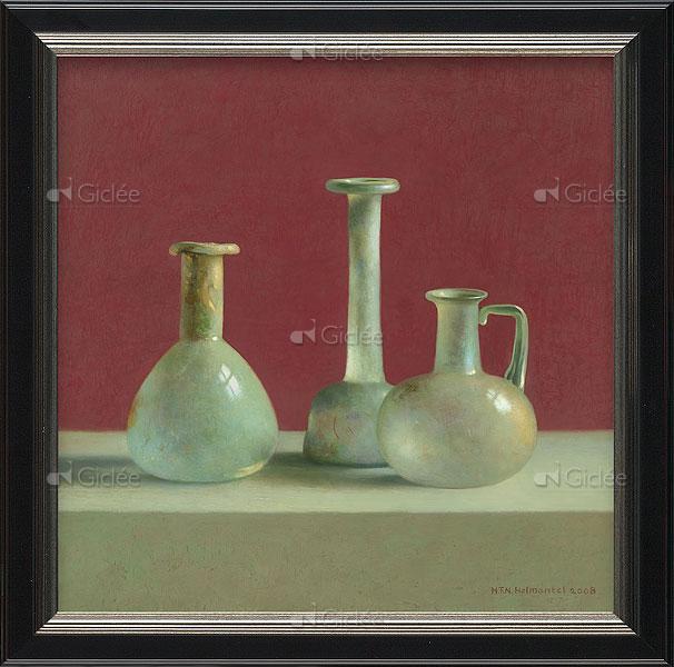 """Giclée/reproductie """"Romeins glas"""" met certificaat"""