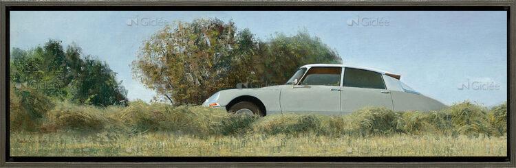 """Giclée/reproductie """"Op de oude Bildtzijldijk, Citroën ID 19b, 1967"""" met certificaat"""