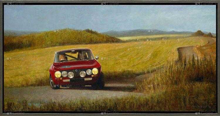"""Giclée/reproductie """"Alfa Romeo in Frans landschap"""" met certificaat"""