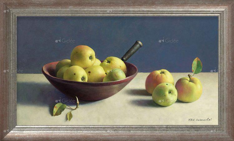 """Giclée/reproductie """"Stilleven met appels"""" met certificaat"""