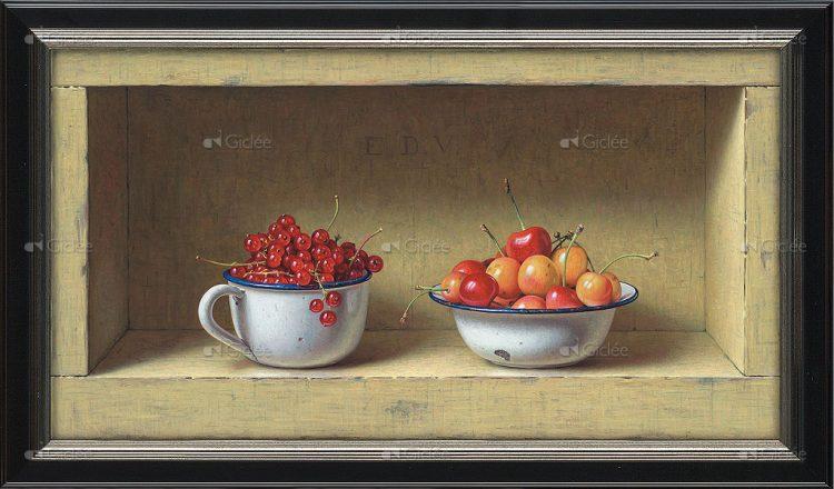 """Giclée/reproductie """"Kastje met zomerfruit"""" met certificaat"""