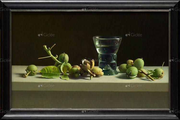 Stilleven met walnoten en romeins glas