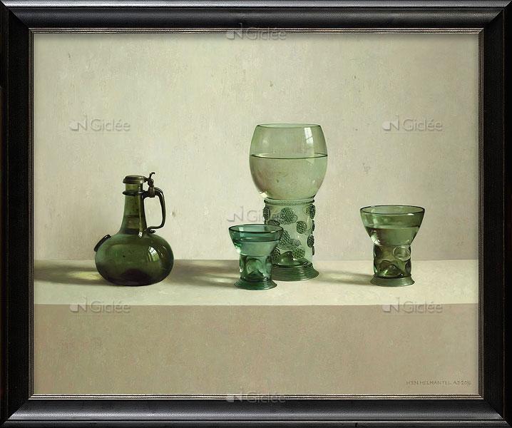 """Giclée/reproductie """"Glas uit de collectie Vecht"""" met certificaat"""