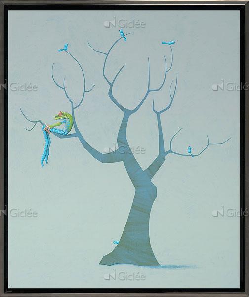 """Giclée/reproductie """"Blauwe vogels"""" met certificaat"""