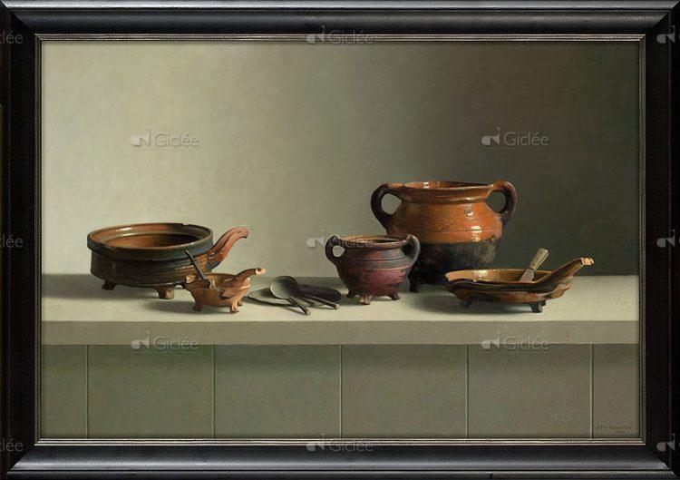 """Giclée/reproductie """"Archeologie uit Oudeschans ±1600"""" met certificaat"""