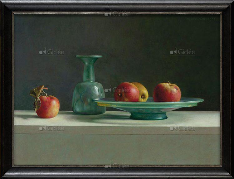 """Giclée/reproductie """"Romeins glas met appels"""" met certificaat"""