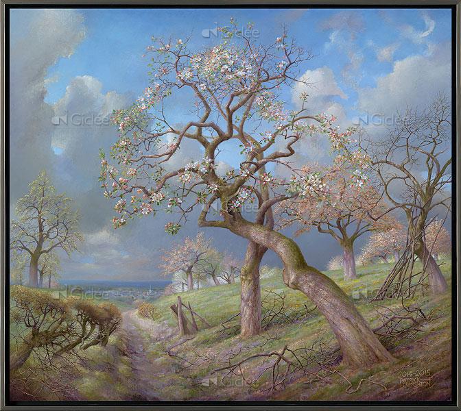 """Giclée/reproductie """"Bloeiende appelbomen met Maasvallei"""" met certificaat"""