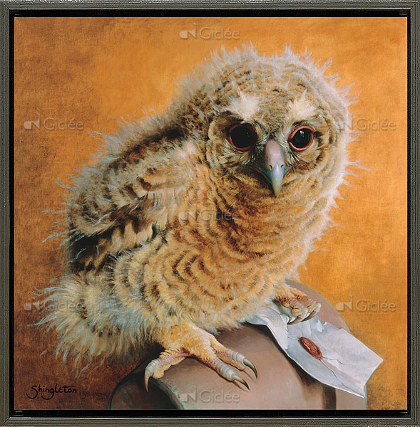 """Giclée/reproductie """"Tawny owl chick"""" met certificaat"""