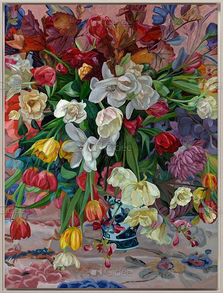 """Giclée/reproductie """"Vaas gekleurde bloemen"""" met certificaat"""