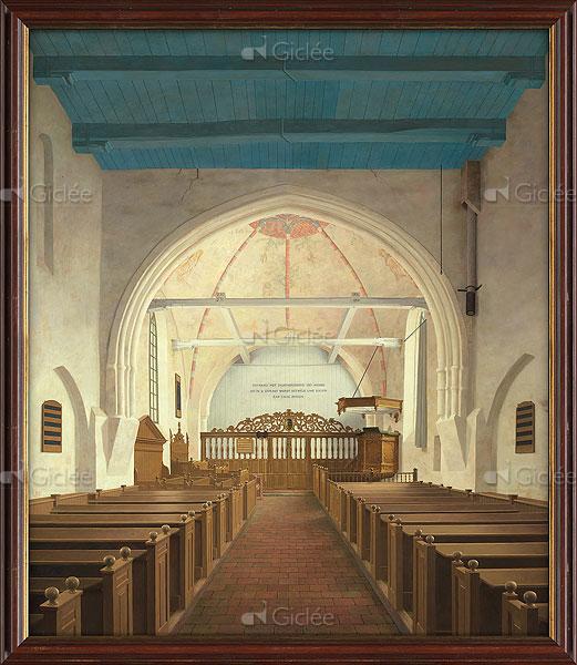 """Giclée/reproductie """"De Andreaskerk in Westeremden, voor de restauratie (13e eeuw)"""" met certificaat"""
