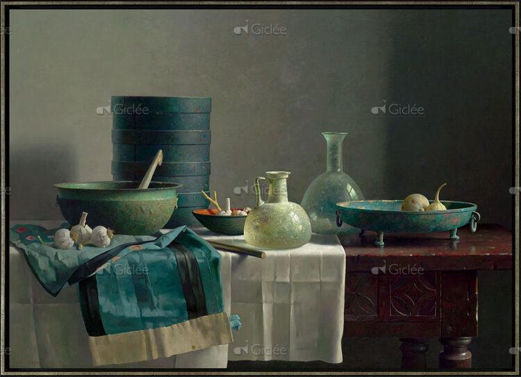 "Giclée/reproductie ""Romeins glas en Chinese rok op Spaanse tafel"" met certificaat"