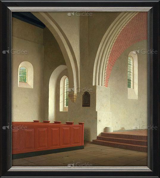 """Giclée/reproductie """"Interieur Donatuskerk te Leermens (1000-1400)"""" met certificaat"""