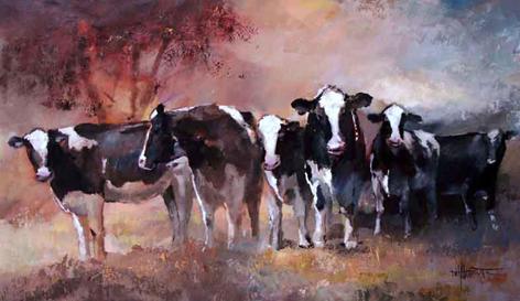 Zes koeien in de wei