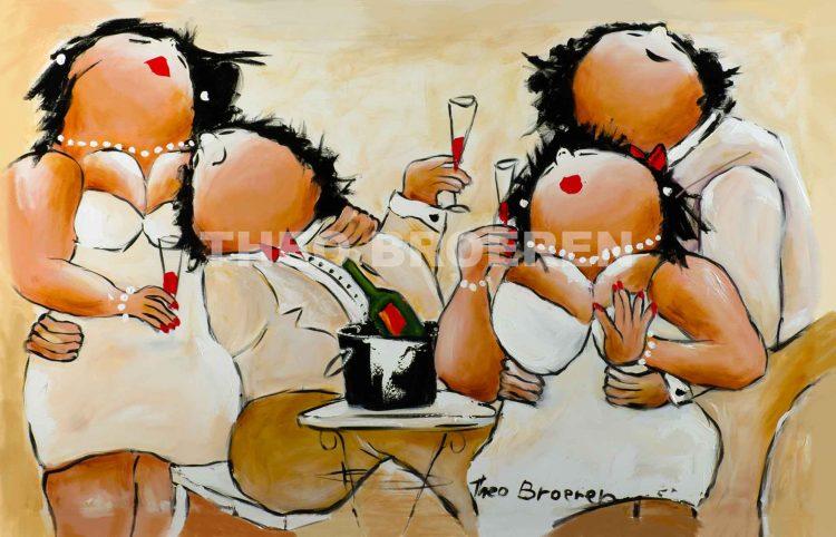 """Dikke dames schilderij """"2 Stelletjes"""" van Theo Broeren"""