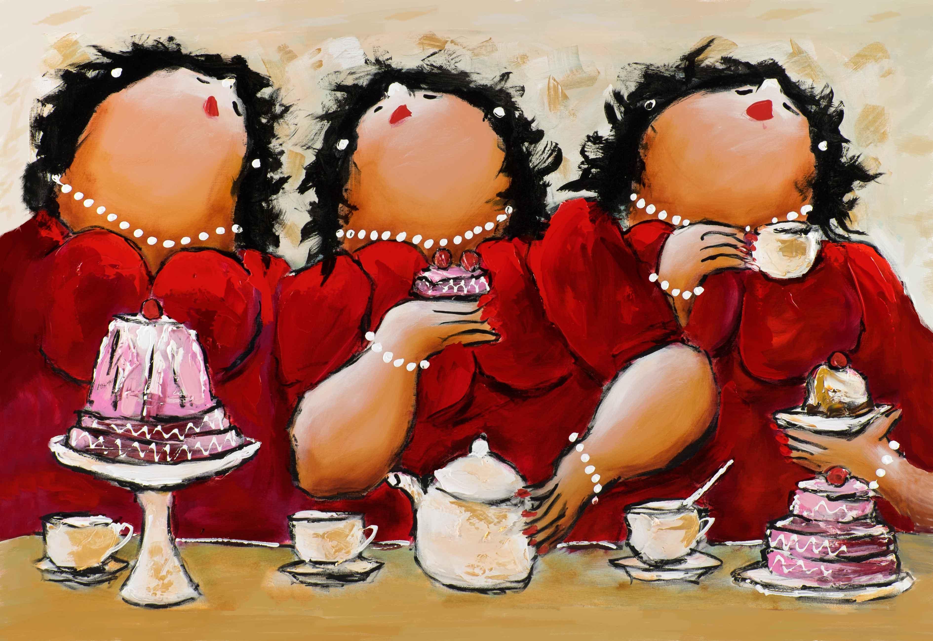 3 op een rij dikke dames schilderij theo broeren