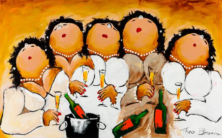 """Dikke dames schilderij """"Altijd wat te vieren"""" van Theo Broeren"""