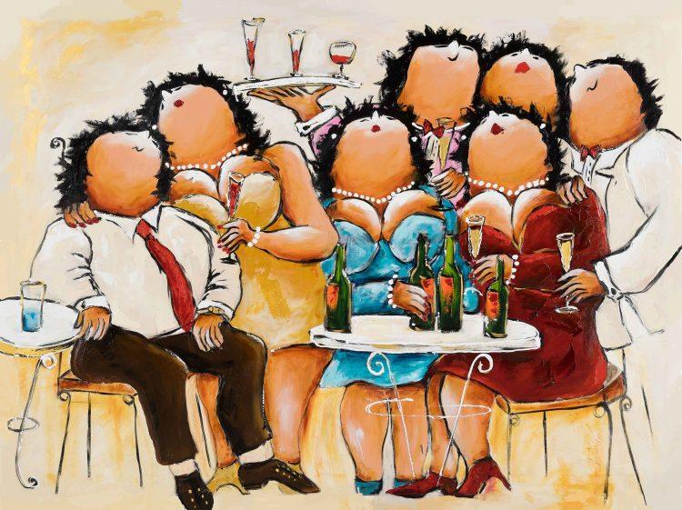 """Dikke dames schilderij """"Cosy"""" van Theo Broeren"""