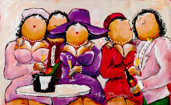 """Dikke dames schilderij """"Deftige Dames op Stap"""" van Theo Broeren"""
