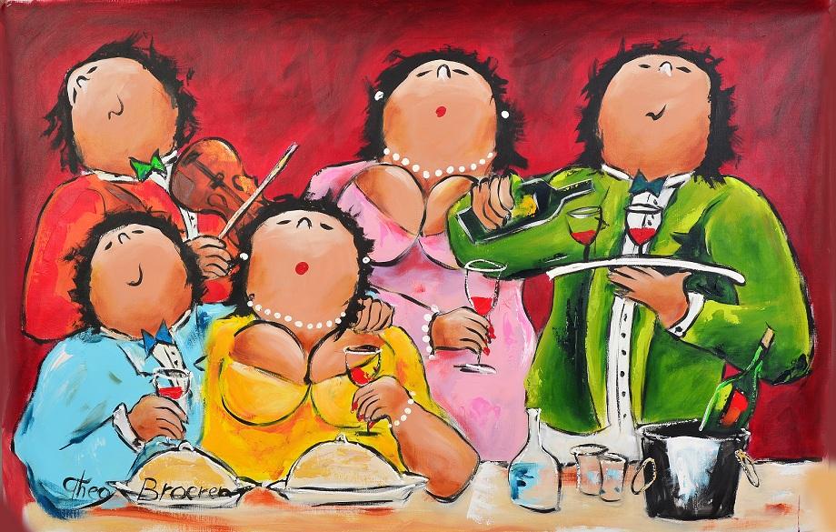 Gezelligheid dikke dames schilderij theo broeren