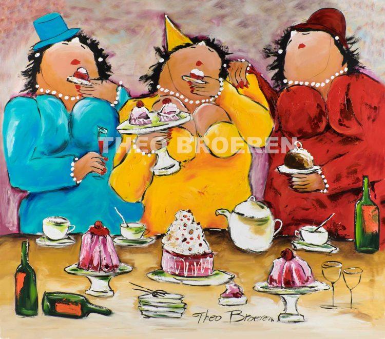 """Dikke dames schilderij """"High Tea"""" van Theo Broeren"""
