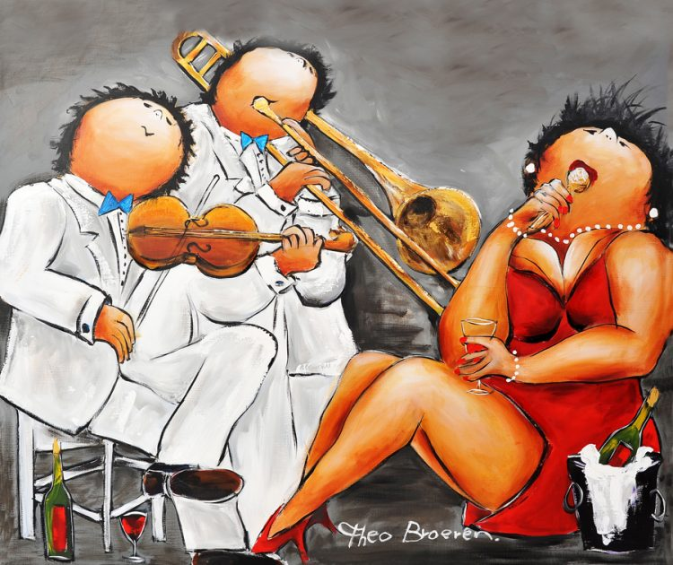 """Dikke dames schilderij """"Muziek maken"""" van Theo Broeren"""