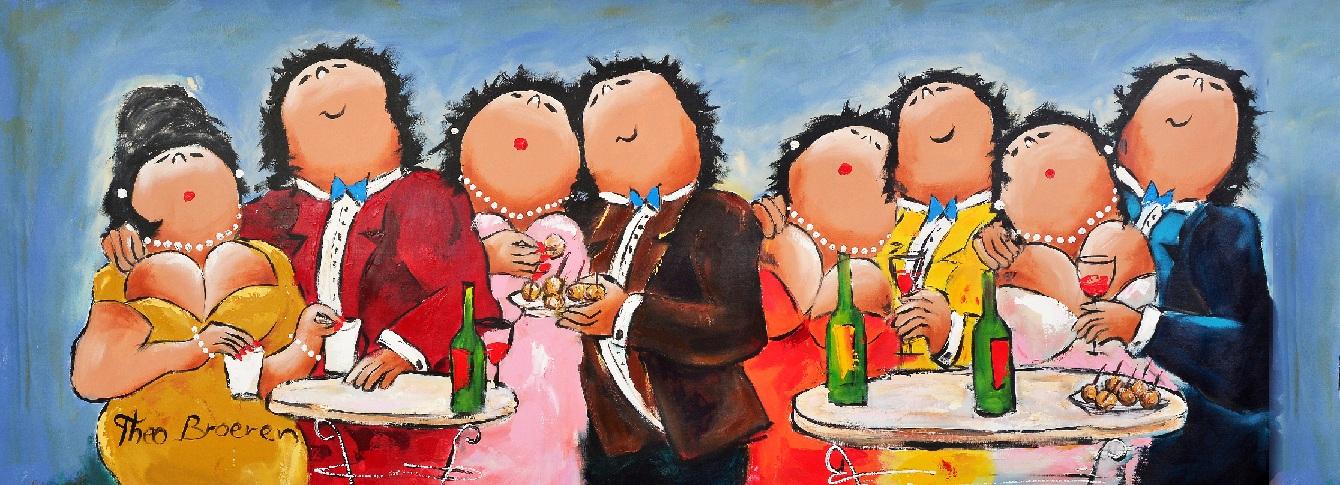 Samen Feest dikke dames schilderij theo broeren